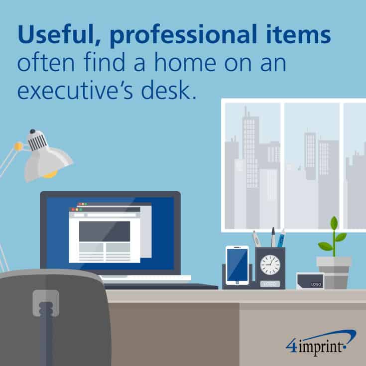 Useful, professional items often find a home on an executive's desk.