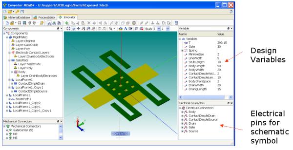 3D View of a MEMS Relay in MEMS+