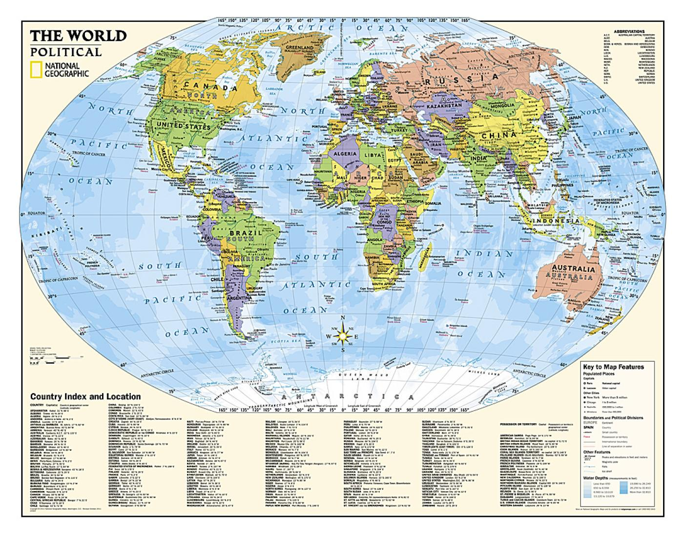World Kids Political Education Grades 4 12 Wall Map