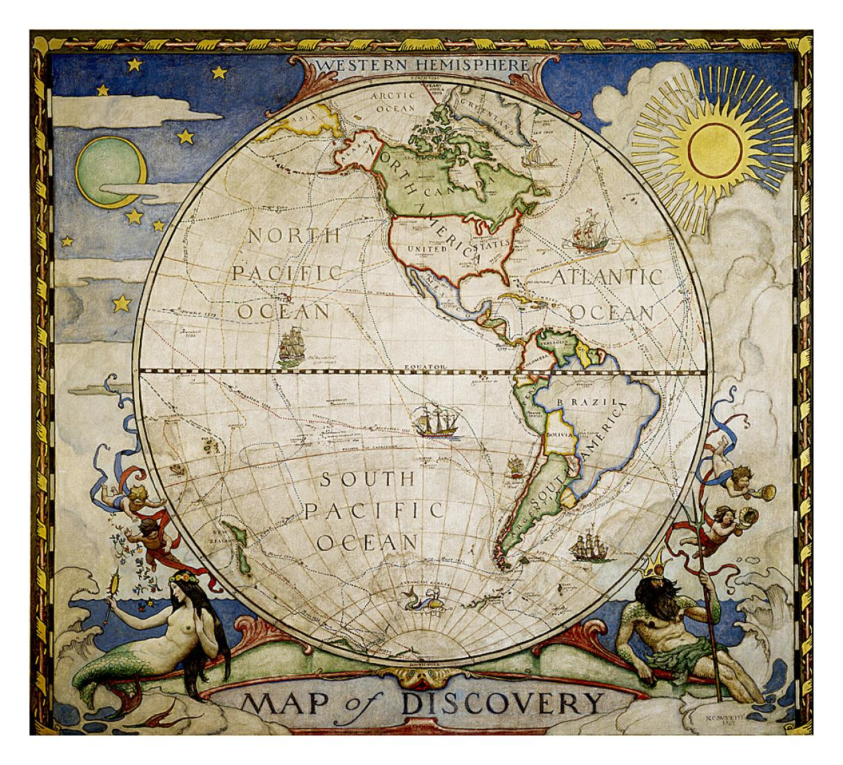Map Of Discovery Western Hemisphere Wall Map 19 X 21