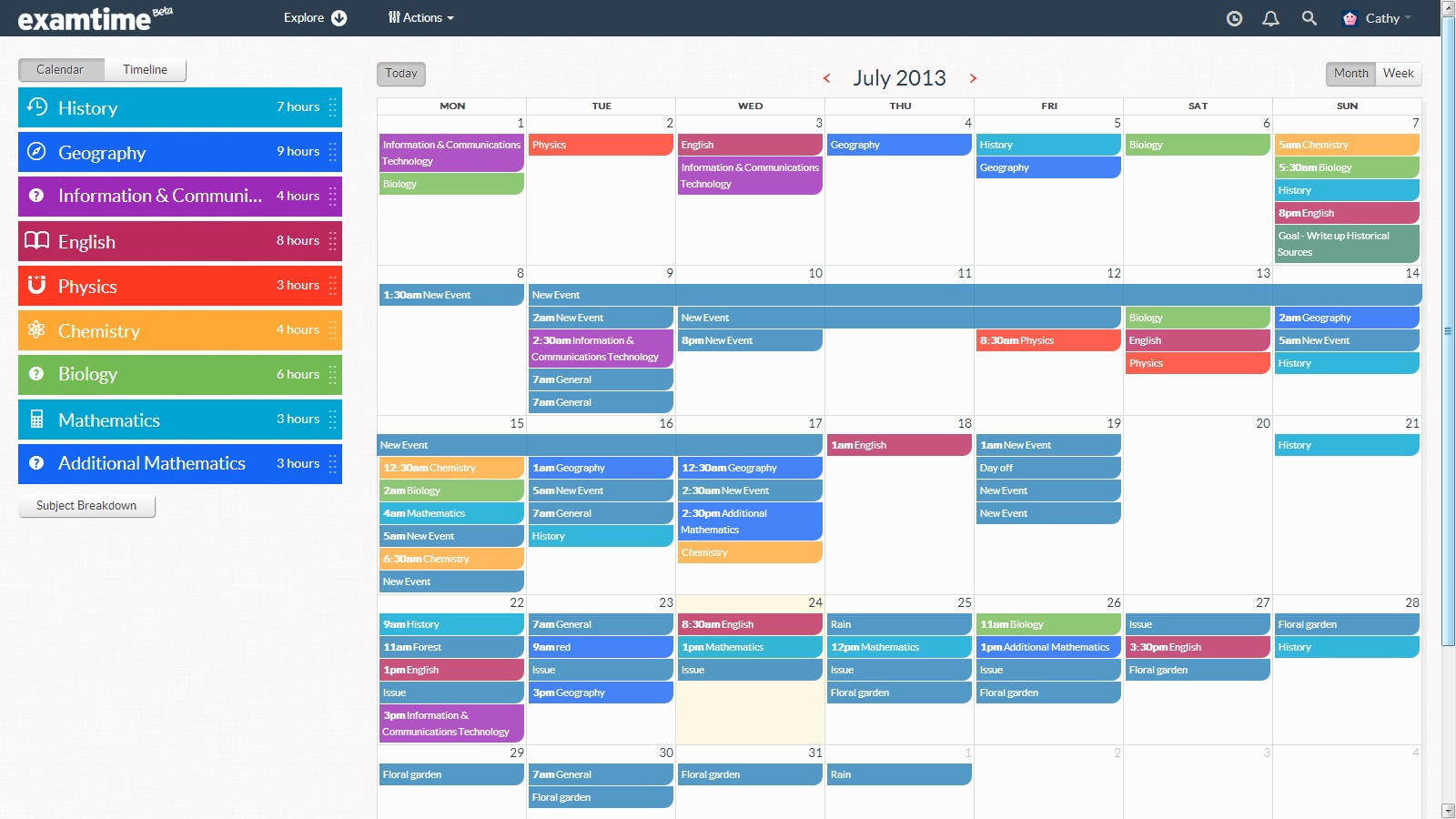 Create A Revision Timetable With Examtime S New Study Tool