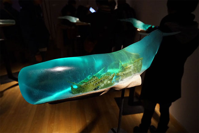 Ocean Scenes Encapsulated Inside Translucent Whale Sculptures