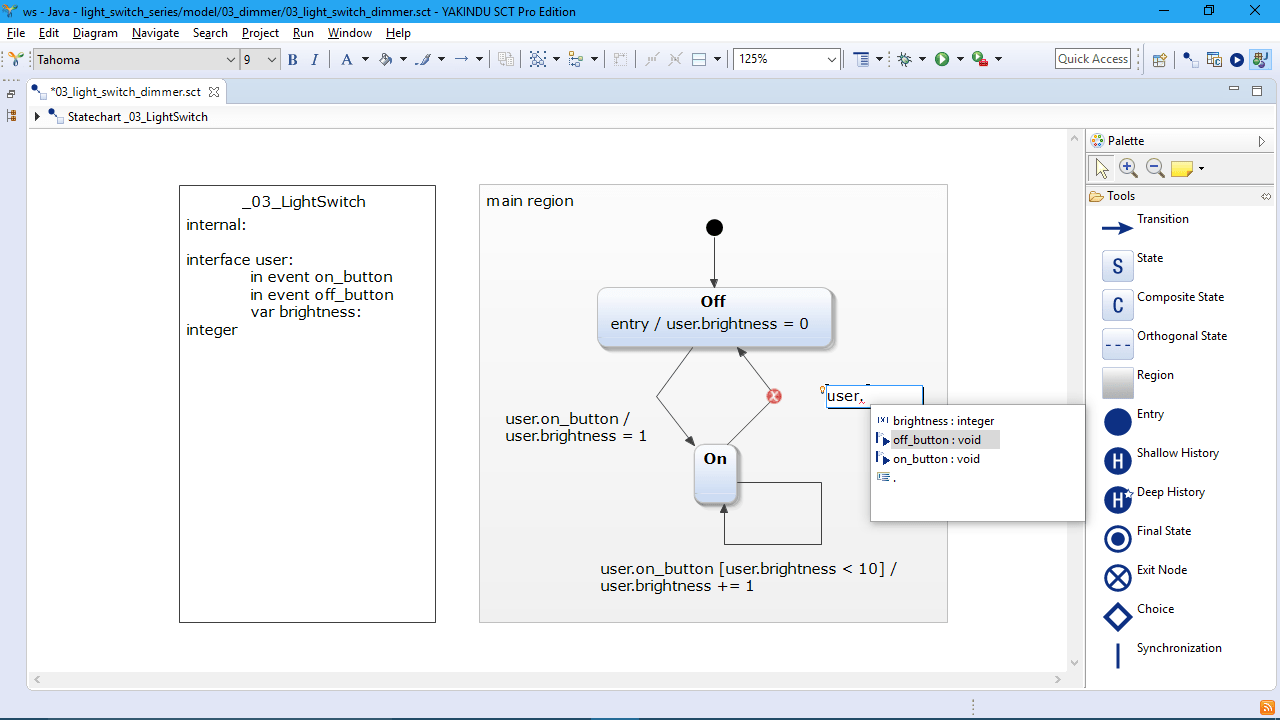 hight resolution of  itemis yakindu statechart tools editing