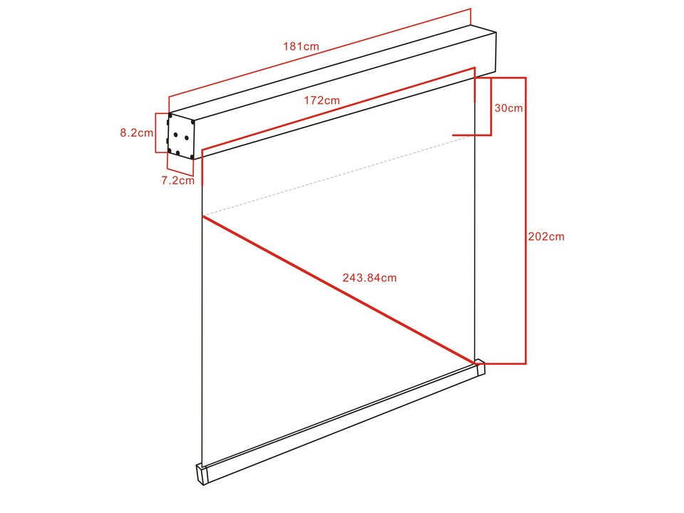 M 1:1 Motorized Projection Screen 172x172, 96