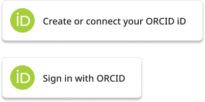 Two Orcid example buttons. The first reads 'Create or connect your Orcid ID'. The second button reads 'Sign in with Orcid'