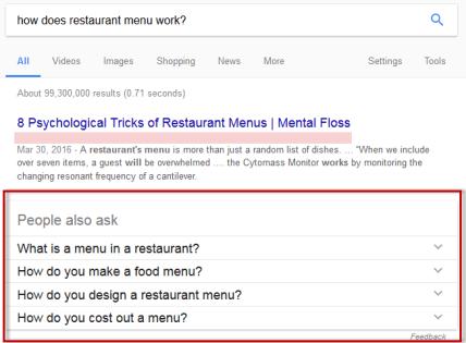 google featured snippet for restaurant website design