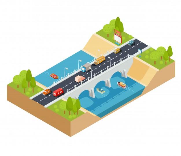 vector-3d-isometrische-dwarsdoorsnede-van-een-landschap-met-een-stroomende-rivier-en-autobrug-doorheen_1441-360