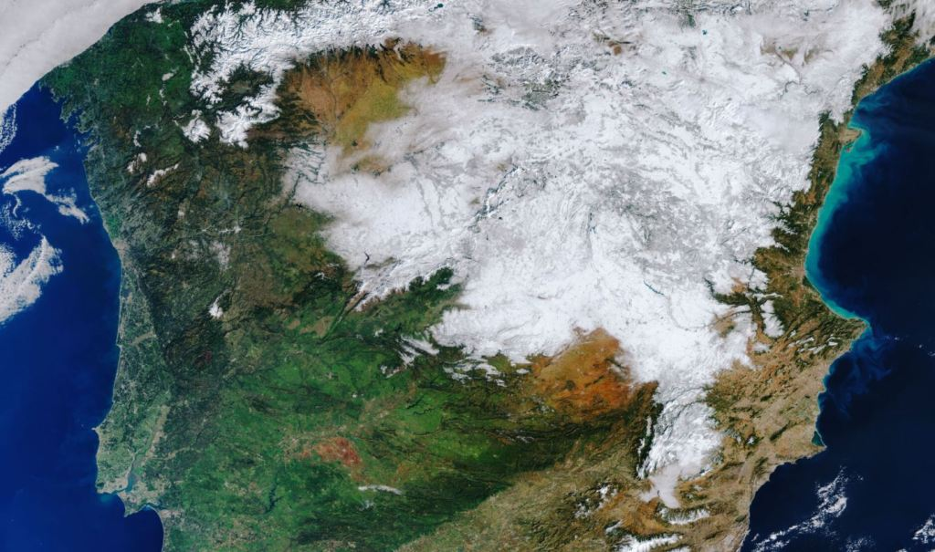 This is what the Iberian Peninsula looks like after the historic snowfall