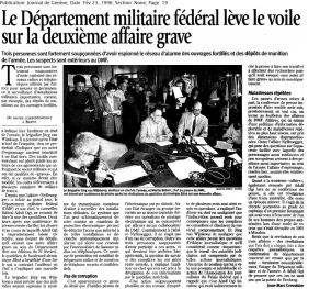 38 Espionnage du réseau d'alarme des ouvrages (1996)