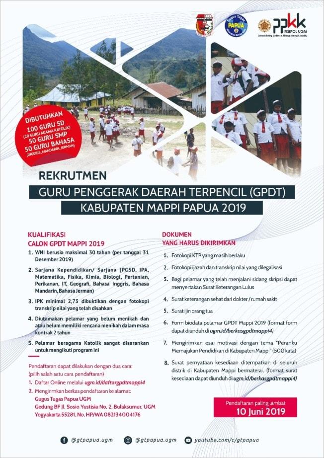 Lowongan Rekrutmen Gpdt Kabupaten Mappi Gelombang 4 Tahun 2019