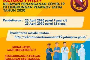 Pemprov Jawa Timur : Rekrutmen Relawan Tenaga Kesehatan dan Tenaga Non Kesehatan Penanganan Covid-19 Tahun 2020