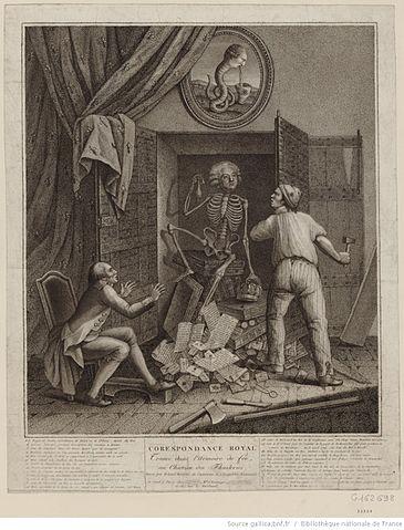 Caricatură de epocă - Scheletul lui Mirabeau apare în seiful lui Ludovic al XVI-lea.