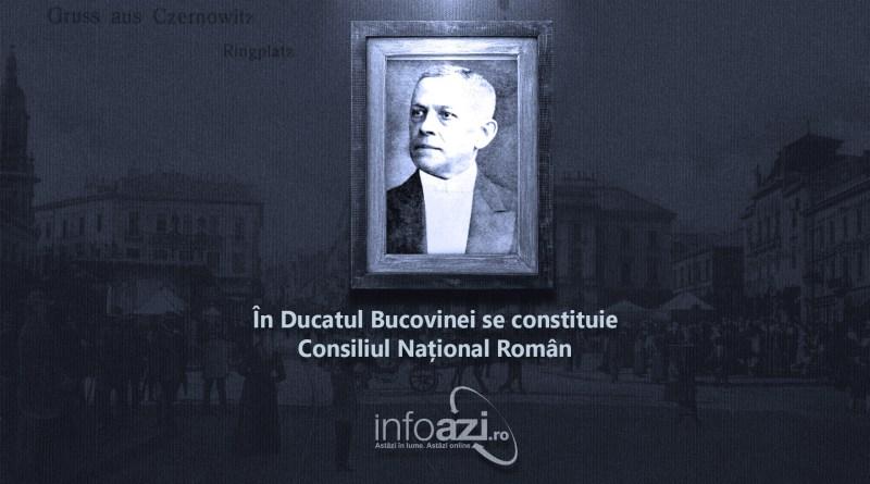 În Ducatul Bucovinei se constituie Consiliul Național Român