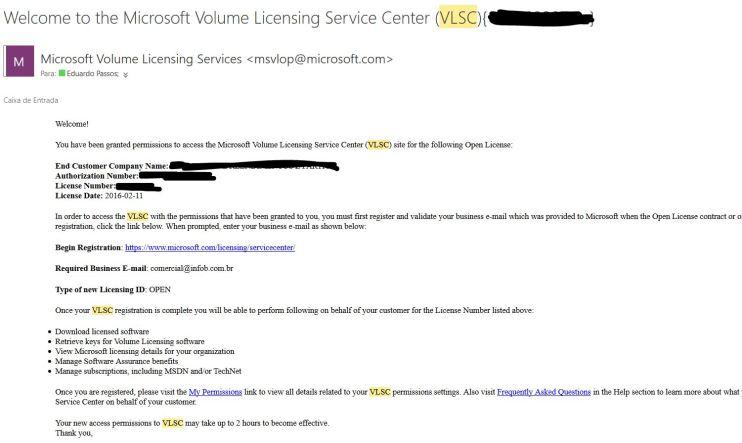 Email para ativação do licenciamento Open no VLSC