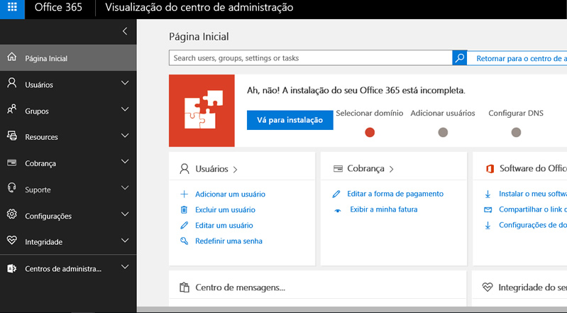 Nova tela administrativa do Office 365