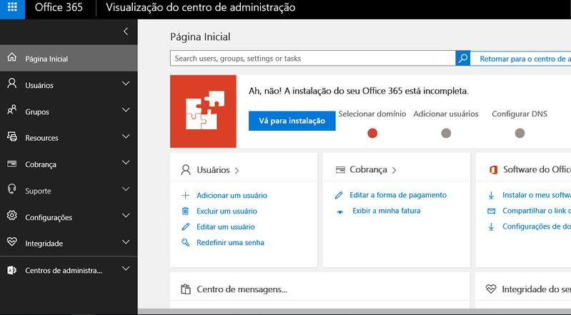 Nova tela administrativa do Office 365