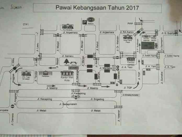 Rute Pawai Kebangsaan Kota Blitar 2017
