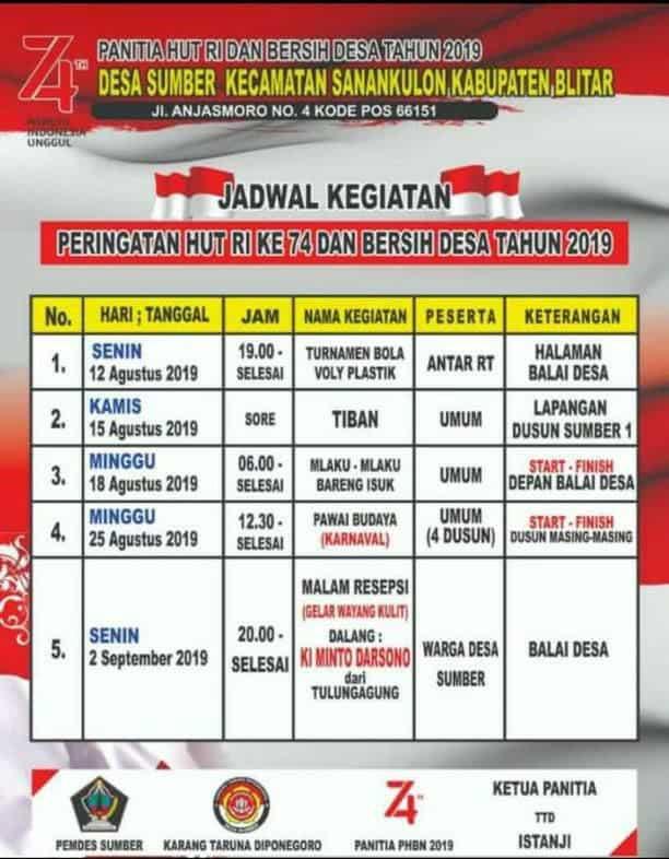 Jadwal Bersih Desa Sumber Kecamatan Sanankulon