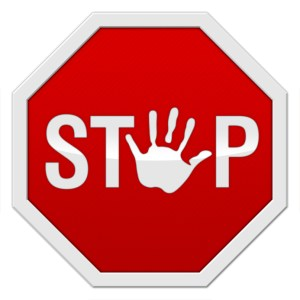 """stop sign with a hand-symbol instead of an """"o"""""""
