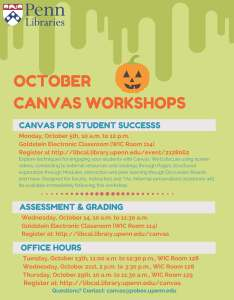 Canvas Workshops and Office Hours for October 2015