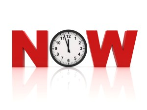 "The word ""now"" in capital letters. The ""n"" and ""w"" are red, and the ""o"" is a clock."