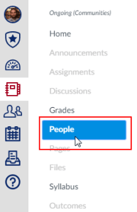 "Cursor clicking ""Add People"" button in a Canvas site."