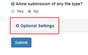 """Example of clicking the """"Optional Settings"""" button in Turnitin."""