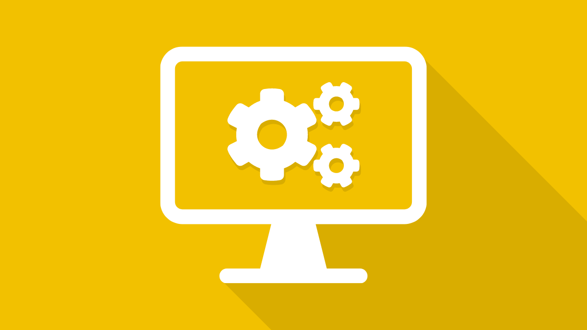 Desktop computer with a gears icon on the computer's screen. Background is yellow to indicate importance.