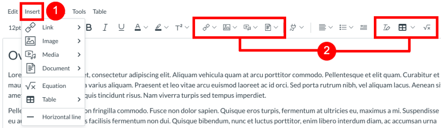 Screenshot highlighting the Insert menu bar option and insert content icons in the toolbar.