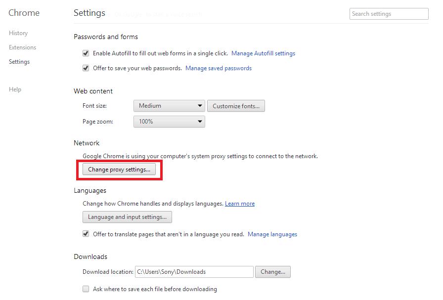 Change Proxy Settings option
