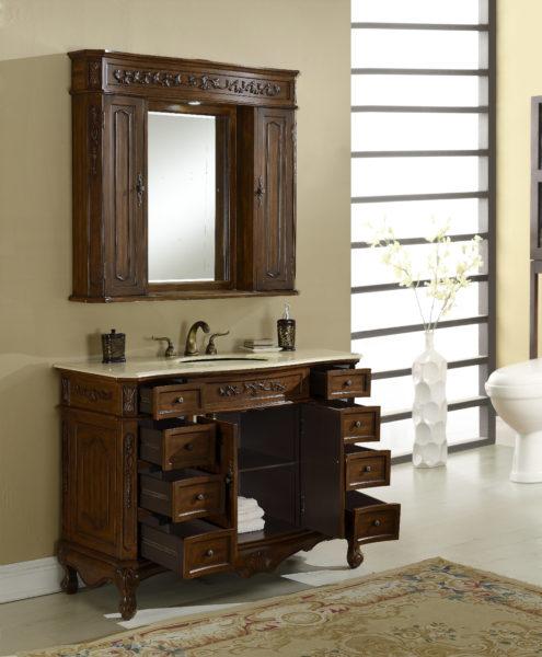 Kensington 48′ Teak Vanity with Matching Medicine Cabinet