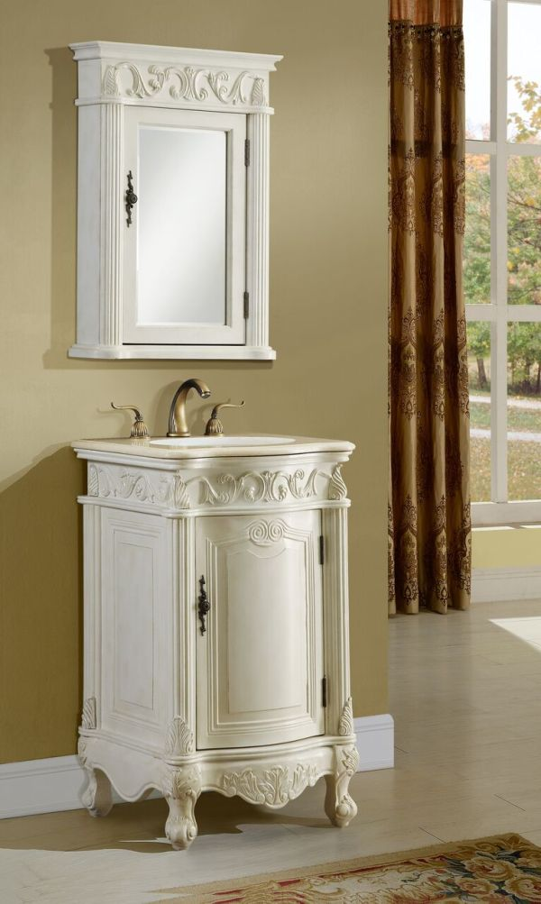 Tuscany 21′ Antique White with Matching Medicine Cabinet