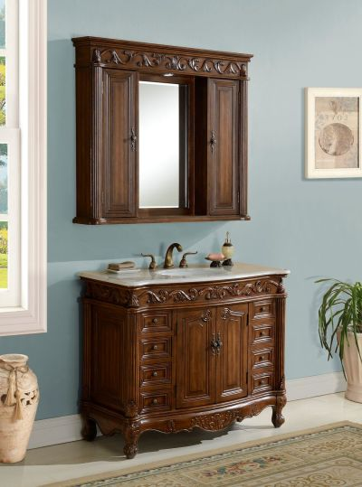 Tuscany 42′ Teak with Matching Medicine Cabinet