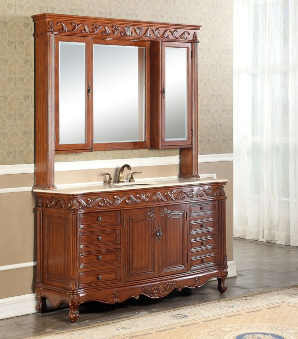 Tuscany 60′ Teak Single with Matching Medicine Cabinet