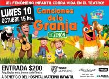 """El show """"Canciones de la Granja"""" se presentará en el Niní Marshall a beneficio del Hospital Materno Infantil"""