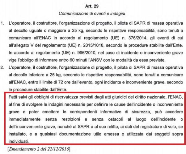 Art 29 emendamento 2 regolamento sapr-proroga attestati apr-enac-modifica regolamento enac-regolamento sapr-regole apr