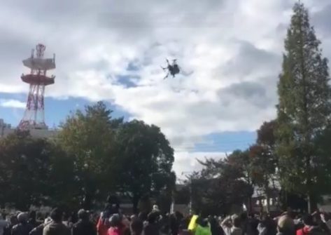drone cade giappone-drone caduto giappone-drone parco ogaki-drone ferisce bambini