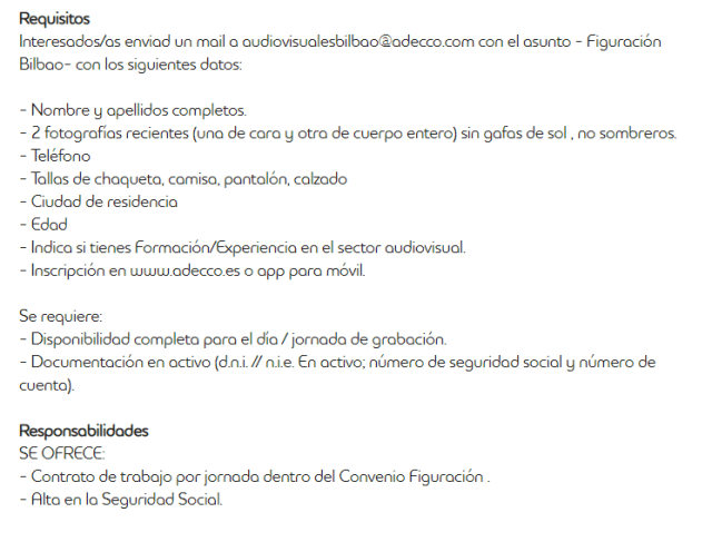 requisitos y documentación para participar como figurante en Bilbao