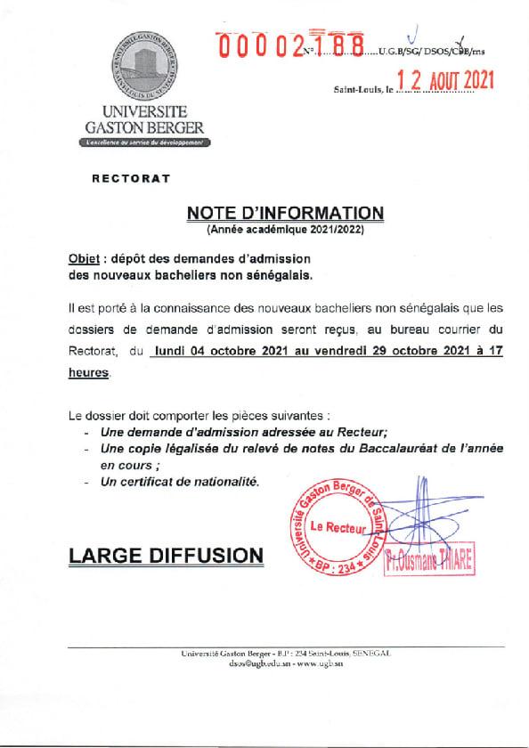 237960461 1889183007911233 269105847076478725 n Dépôt des demandes d'admission des nouveaux bacheliers non sénégalais pour l'année académique 2021-2022