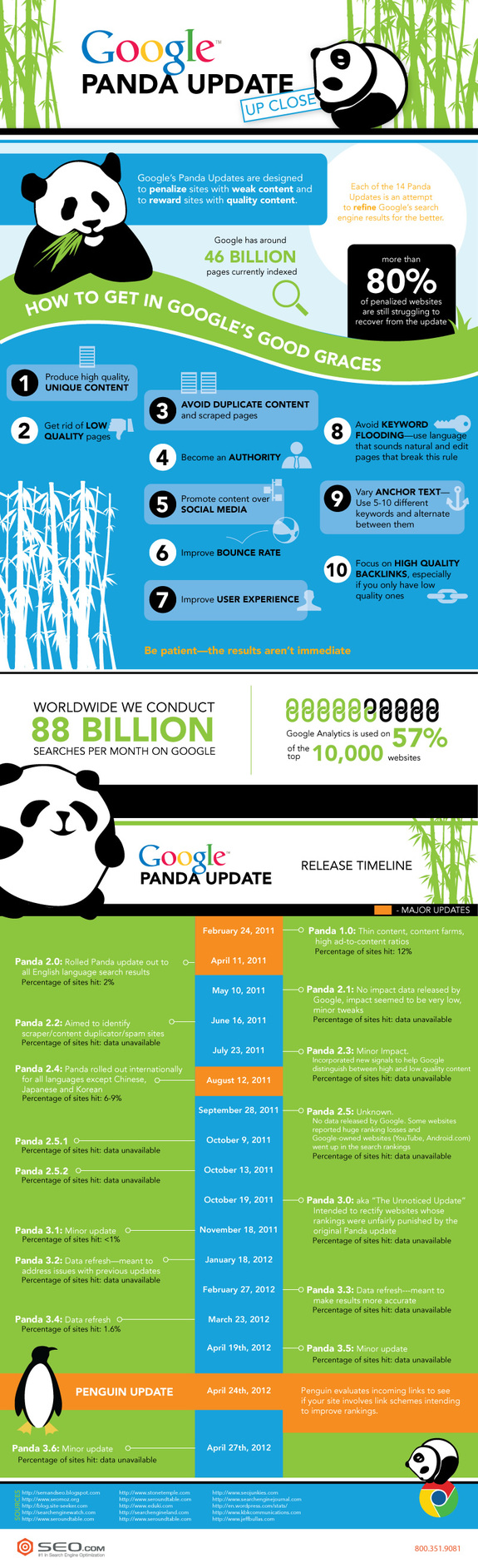 Google Panda Update infographic