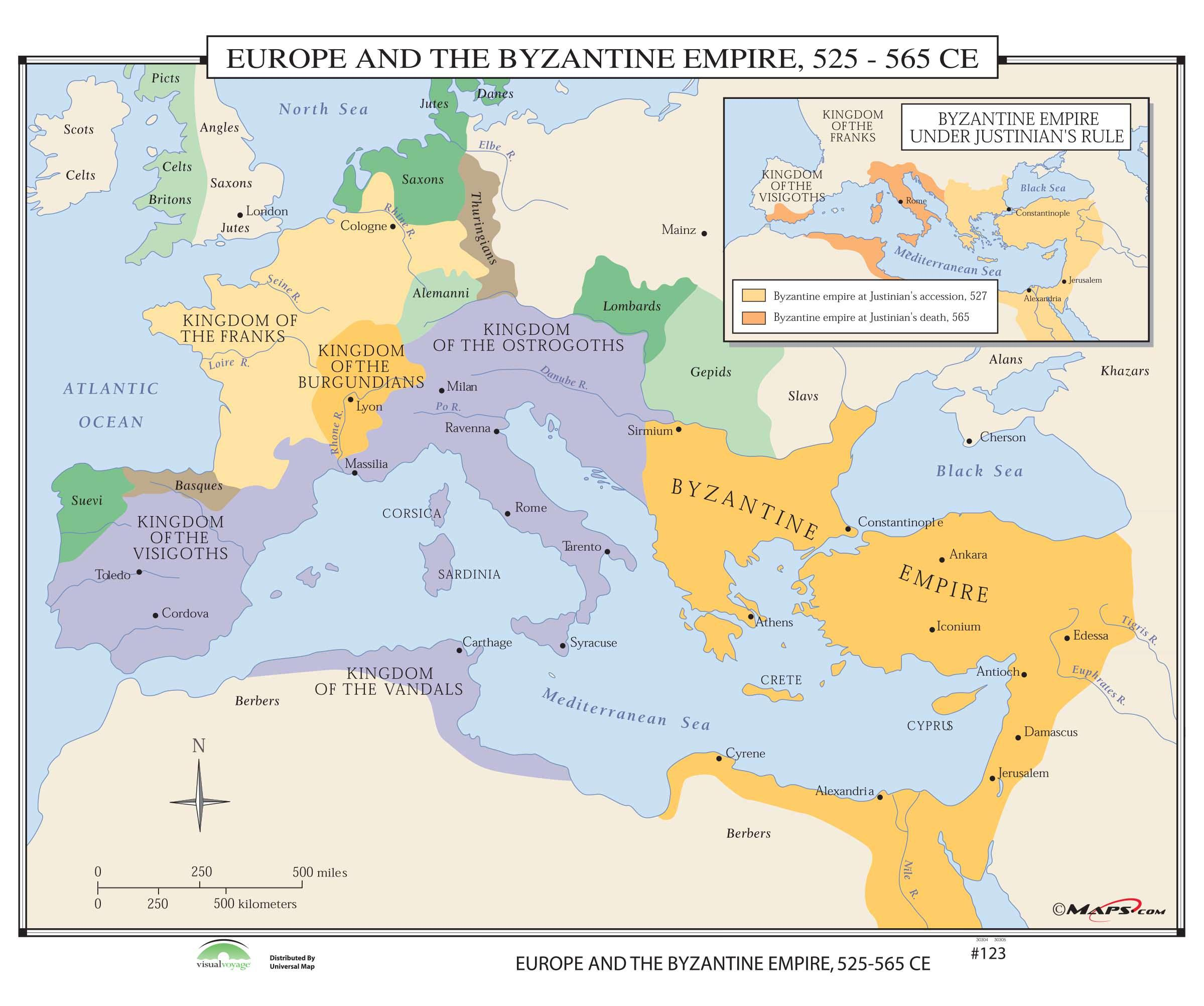 Map Europe And The Byzantine Empire 525 565