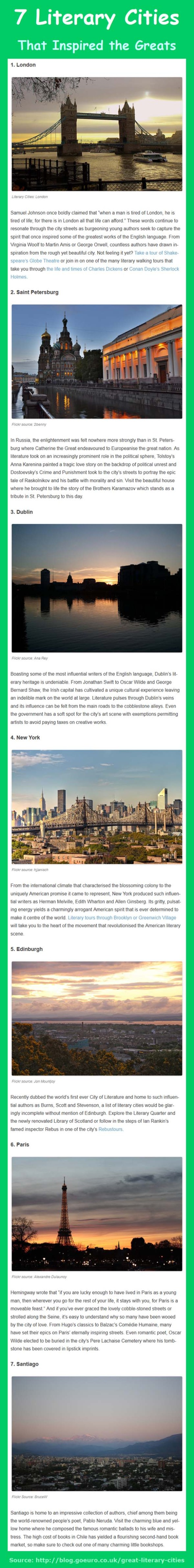 7 Literary Cities that inspired great writers