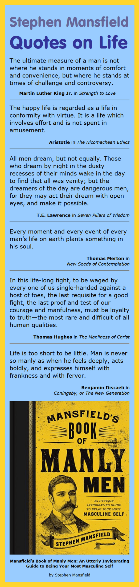 Book Quotes About Life Stephen Mansfield Quotes On Life  Infographic A Day