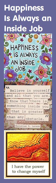 Motivational Bookmark - Happiness Is an Inside Job