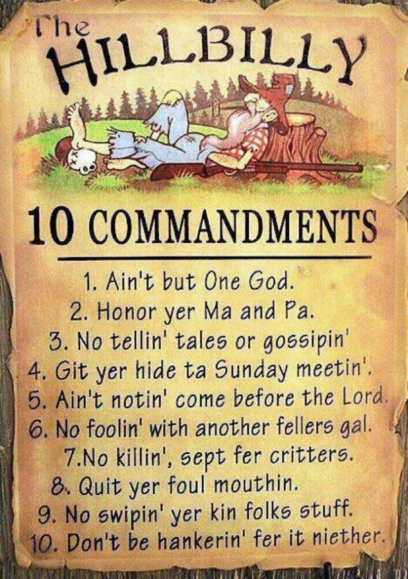 The Hillbilly Ten Commandments