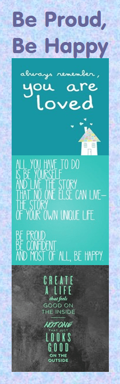 motivational bookmark: be proud be happy