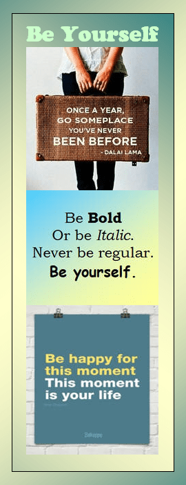 motivational bookmark: Be Yourself