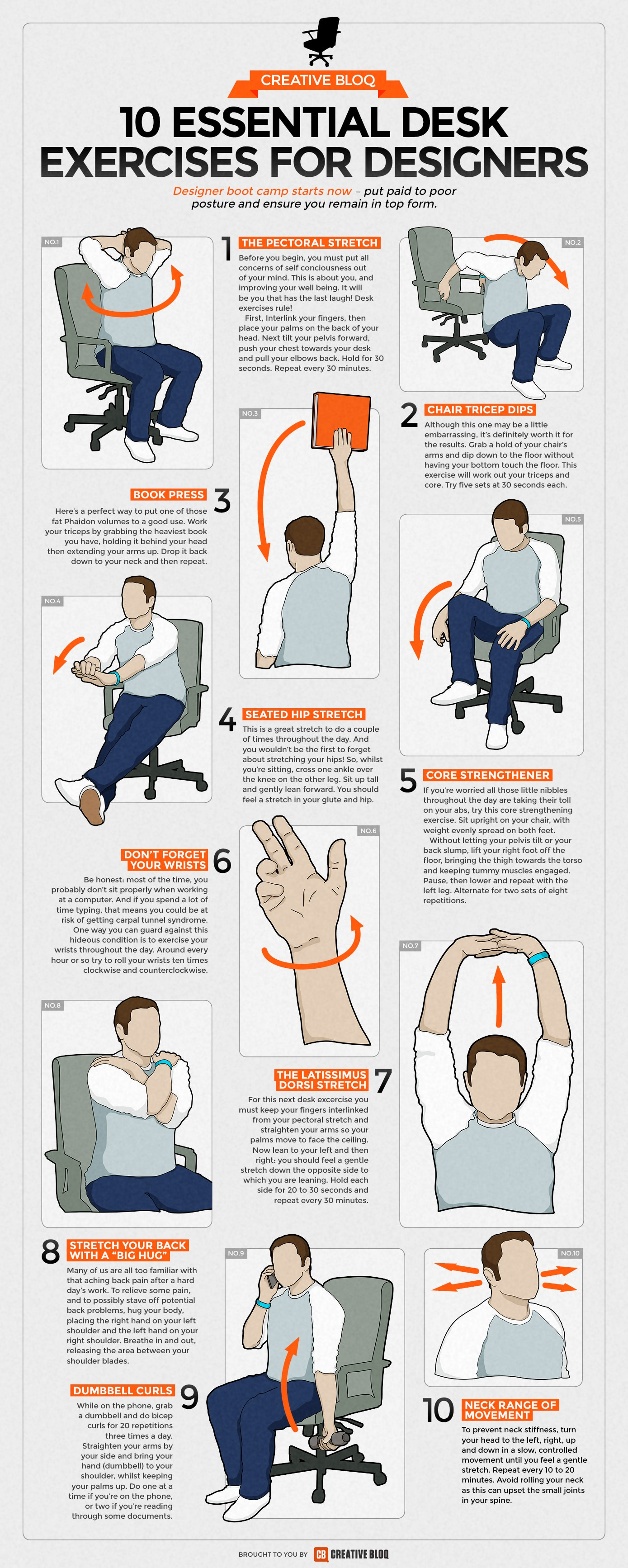10 essential desk exercises for designers infographic facts rh infographicfacts com how to exercise at your desk at work how to exercise at your desk at work