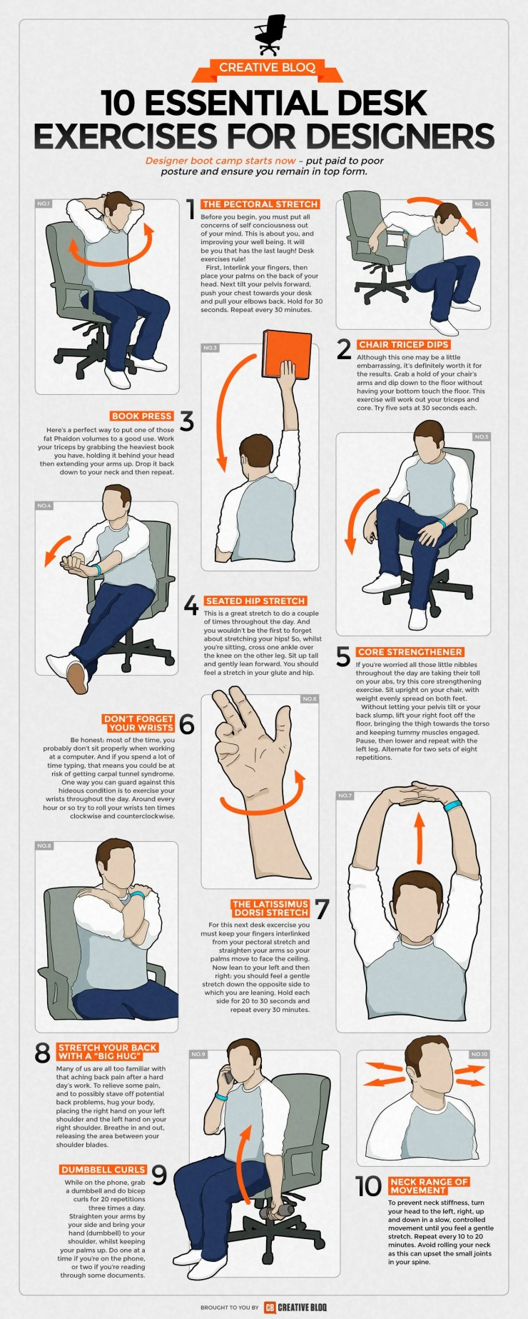 10 Essential Desk Exercises For Designers Infographic Facts