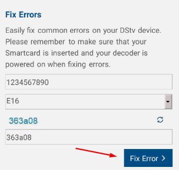 how to remove e16 error code on dstv